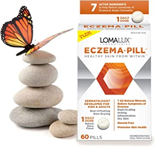 Eczema Pill, All Natural Skin Clearing Minerals - Steroid Free - Dermatologist Developed For Children & Adults, Natural Berry Flavor, 60 Quick Dissolving Pills