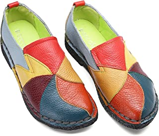 Mocasín de Mujer, Mocasín Slip-on Casual de Cuero de Mujer Zapatos Planos de Deslizamiento Mocasines de Conducción Mocasín Zapatillas.