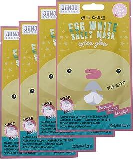 Jiinju Beauty Korean Extra Glow Egg White Sheet Mask, Pack of 4