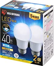 アイリスオーヤマ LED電球 口金直径26mm 広配光 40W形相当 昼白色 2個パック 密閉器具対応 LDA4N-G-4T62P