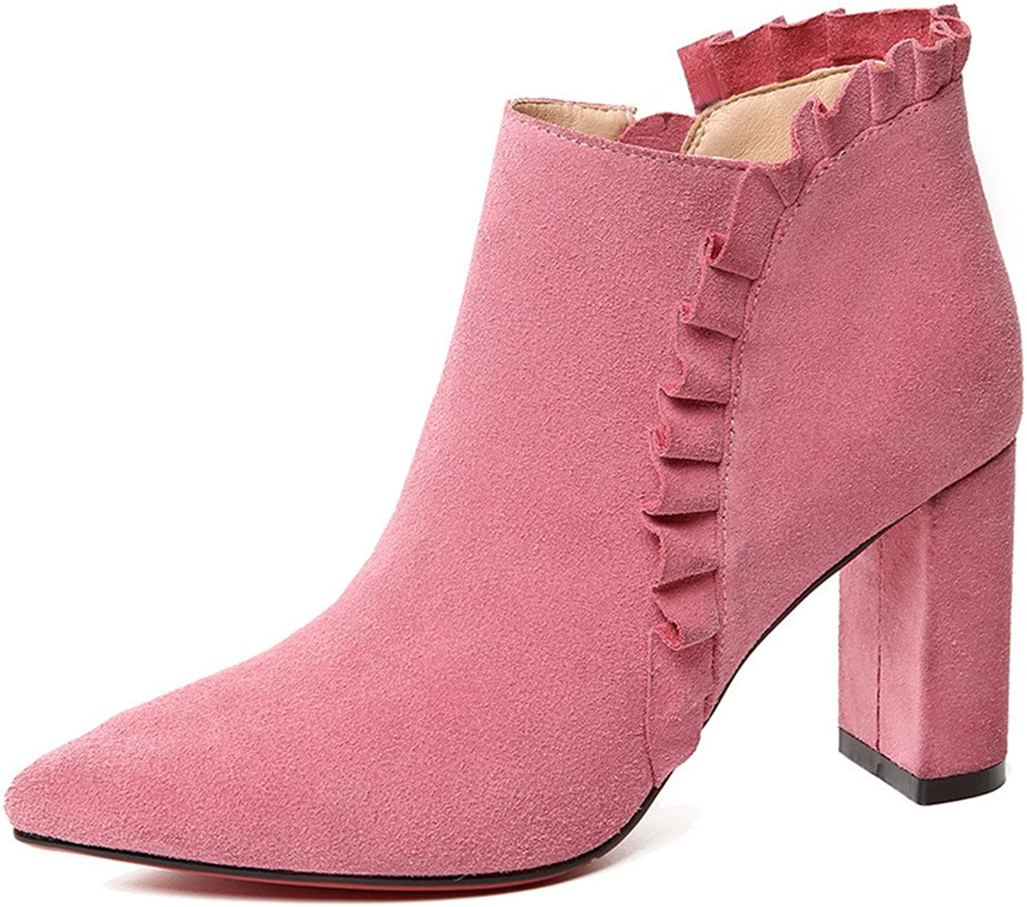 Nine Seven Suede Leather Women's Pointy Toe Block Heel Comfort Handmade Fashion Ankle Boot