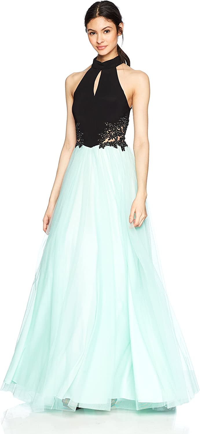 Blondie Nites Womens Long High Neck CutOut Prom Dress