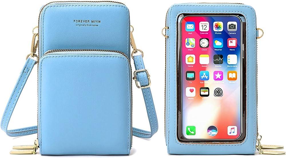 Rrancharltu portafoglio porta carte di credito porta cellulare per donna in pelle sintetica azzurro