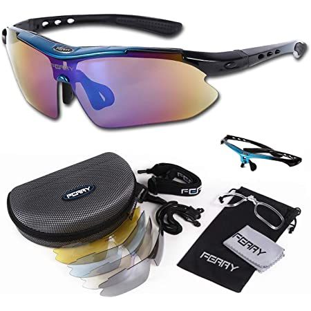(フェリー) FERRY スポーツサングラス ミラーレンズ フルセット専用交換レンズ5枚 ユニセックス 7カラー