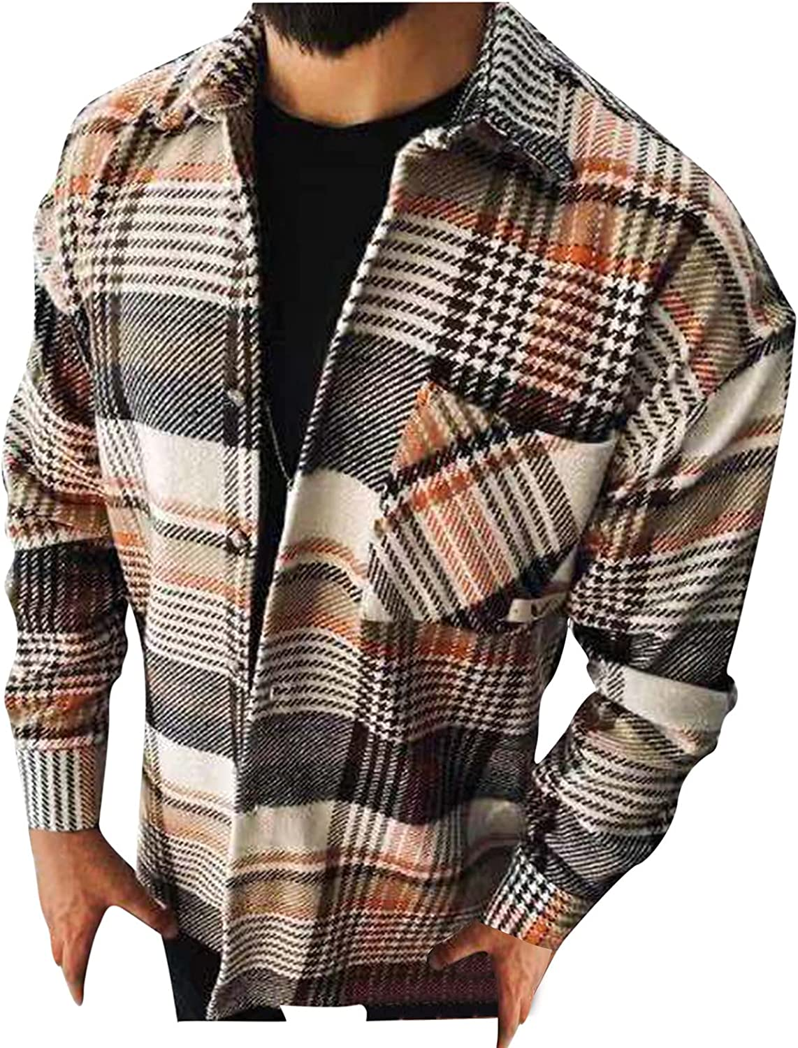 XXBR Wool Cardigan for Mens Plus Size, Fall Corduroy Button Down Single Breast Plaid Vintage Woolen Jackets Casual Coat