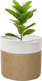 Tissé Panier en corde de coton pour plantes pour décoration intérieure de pot de fleurs panier à linge pliable panier de r...