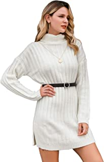 Miessial Women's Long Sleeve Turtleneck Knitted Sweater Dress Loose Slit Side Sweater Tunic Dress