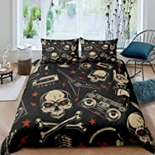 Castle Fairy Rocking Roll Music Comforter Sets Full Electric Guitar Recorder Skull Duvet Cover Sets Black Base 3 Pieces Be...