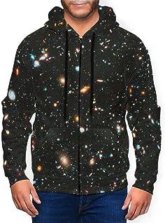 Cyloten Men's Space Telescope Casual Sweatshirts Ultra Soft Thicken Zipper-Up Sportswear Hoodies