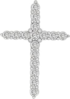 0.13 Ct Round Cut Natural Diamond 925 Sterling Silver Cross Pendant