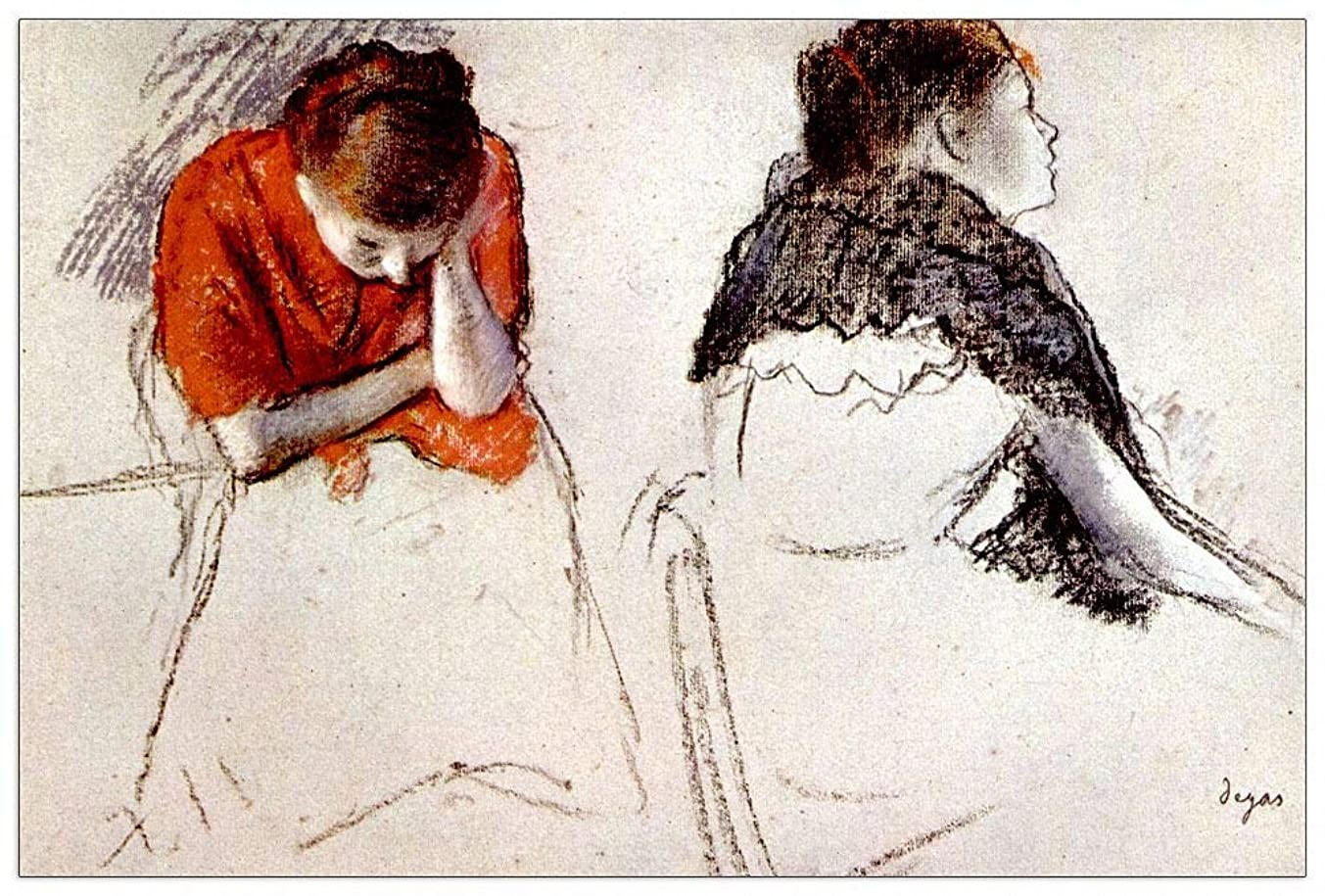 ArtPlaza TW93132 Degas Edgar - Two Women Seated Decorative Panel 39.5x27.5 Inch Multicolored