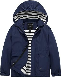 Wantdo Boy's Lightweight Waterproof Rain Jacket Windproof Hooded Raincoat