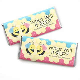 Personalized What Will It Bee - Custom Gender Reveal Favors Candy Bar Wrapper - Set of 24