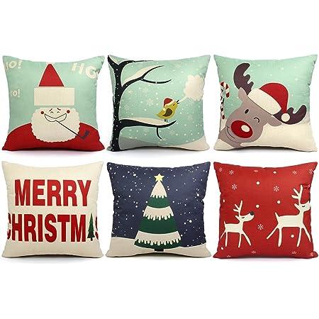 18 in Christmas Throw Pillow Cover Pillowcase Home Sofa Cushion Pillowcase v8m3