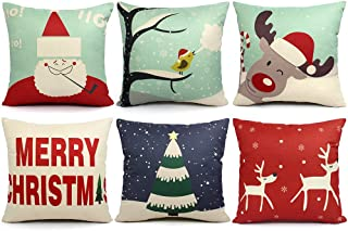 ORWINE 6 Packs Christmas Pillows Covers 18×18 Christmas Decorations Pillows Covers..