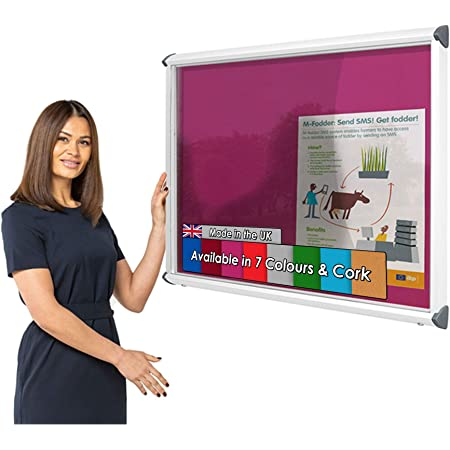 Wonderwall Outdoor Exterior Weatherproof Lockable Notice Board Showcase with Aluminium Frame - 1050 x W H 752mm with 2 Matching Locks Including Red