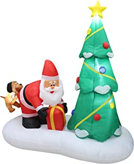 6 Foot Tall Lighted Inflatable Santa Claus and Dog with Christmas Tree Cute Indoor Outdoor Garden Yard Party Prop Decoration