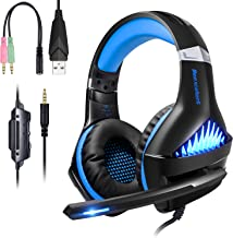 BlueFire Upgraded Professional PS4 Gaming Headset 3.5mm Wired Bass Stereo Noise Isolation Gaming Headphone with Mic and LED Lights for Playstation 4, Xbox one, Laptop, PC (Blue)