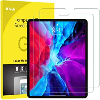 JETech 2-Pack Screen Protector for iPad Pro 12.9-Inch (2020 and 2018 Model, Release Edge to Edge Liquid Retina Display), Face ID Compatible, Tempered Glass Film
