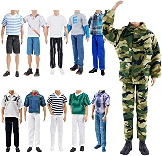 E-TING 10-Item Fantastic Pack = 5 Sets Fashion Casual Wear Clothes Outfit with 5 Pair Shoes for Boy Doll Random Style (Cas...