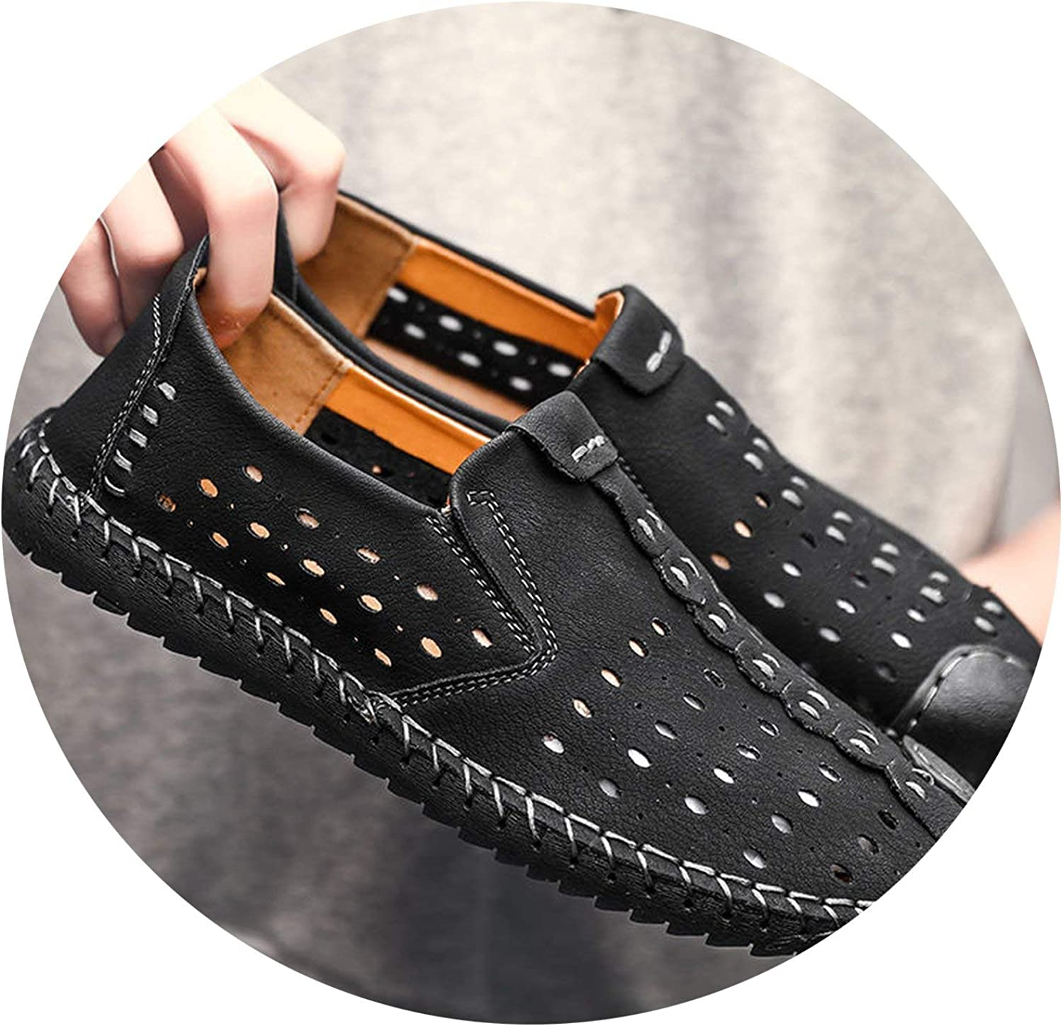 ALWAYS ME Summer Men shoes Breathable Casual shoes Genuine Leather Moccasins Slip On Loafers Tenis Masculino