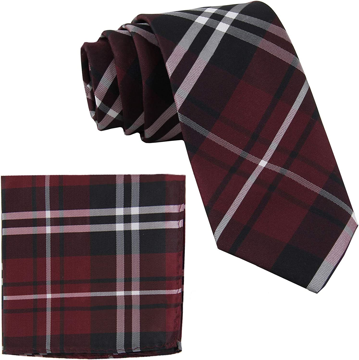 Polyester Mens Checkered Burgundy Necktie With Pocket Square Set for Men Woven Skinny Suit Tie with Handkerchief for Wedding Birthday Party