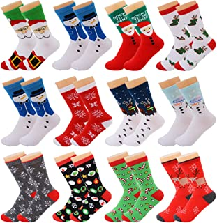 12 pares Calcetines de Navidad Calcetines de invierno Calcetines Navidad Mujer Navidad Algodón Calcetines de Felpa Cálidos Calcetines Navidad Regalo Calcetines para Adultos