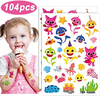 Baby Cute Shark Party Supplies Temporary Tattoos for Kids 104 Tatoos Party Favors & Birthday Party Decorations