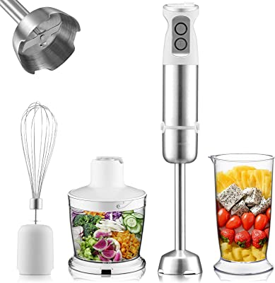 Inkbird Immersion Hand Blender, 4-in-1 6-Speed Stick Blender with 500ml Food Grinder, BPA-Free, 600ml Container, Egg Whisk,Puree Infant Food Vegetable, Smoothies, Sauces and Soups 500W