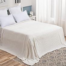 بطانية سرير من الصوف من ميولي مع نمط مخطط بلون الفانيلا الوزي بطانية كبيرة بيضاء للسرير أفخم دافئ دافئ دافئ دافئ دافئ دافئ...