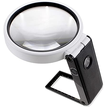 PhoenixLopue 手持ち スタンドルーペ【倍率3.5倍&25倍】2種類レンズ/LEDライト5灯/ブラックライト 付き<長期保証45日間>拡大鏡 ルーペ