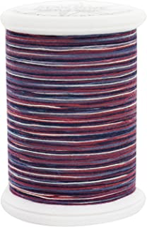 YLI 24450-01V 3-Ply 40wt T-40 Cotton Quilting Variegated Thread, 500 yd, Red/White/Blue