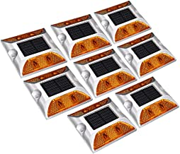 X-DREE 8pcs LED Solar Road Stud Light Marker Lighting Security Warning Lamp 4LED Yellow (70a74007-a222-11e9-8d7c-4cedfbbbd...