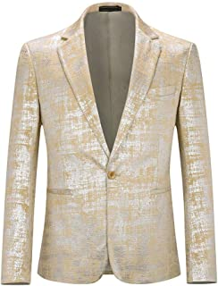YOUTHUP Mens Blazers Single Breasted Fancy Sequin Suit Jacket Slim Fit Chic Prom Coat