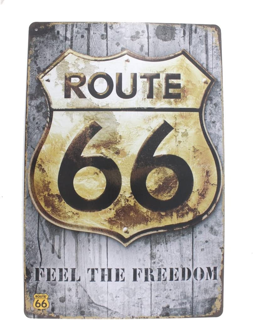 12x8 Inches Pub,bar,Home Wall Decor Souvenir Hanging Metal Tin Sign Plate Plaque (Route 66 Feel The Freedom)