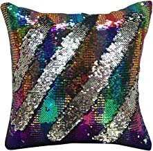 Decou Mermaid Reversible Sequins Cushion Cover Throw Pillow Covers 15.7x15.7Inches 101M (Rainbow)