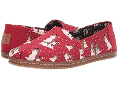TOMS Alpargata (Pompeian Red Cozy Snowmen Leather Wrap) Women