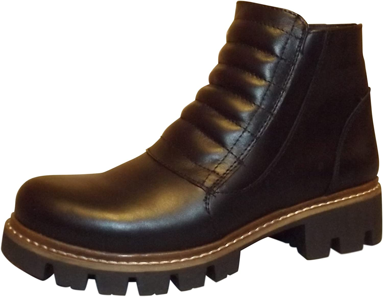 Rocomfort 100% Genuine Leather Women Ankle Winter Boots Black