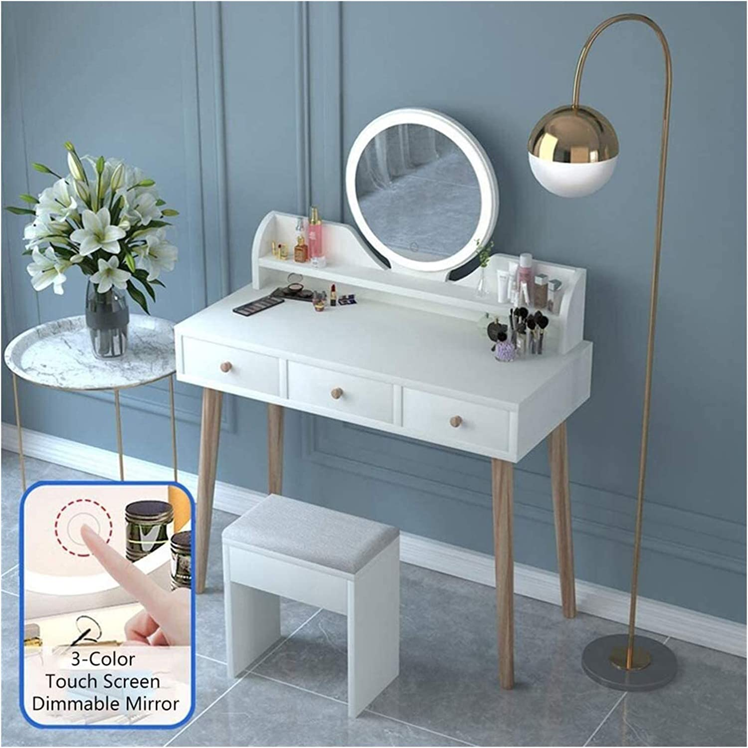 ZHZH Exquisite Dressing Table Department store Vanity Round with Mirror Set Our shop most popular