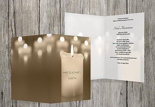 Envío rápido y el mejor servicio Agradecimiento luto velas, beige, 100 100 100 Karten  muchas sorpresas