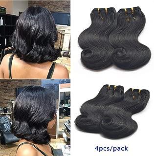 GREEMEO 4 Bundles of Body Wave Brazilian Ombre Hair Two Tone Human Hair Extensions Short Bob Weaves 50g/pc 200g/set (1B)
