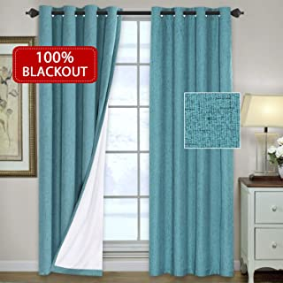 H.VERSAILTEX 100% Blackout Waterproof 2 Panels Decorative Blackout Thermal Insulated Textured Linen Look Curtains Easy Care Drapes, Extra Long Size W52 x L108- Inch- Teal