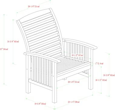 Walker Edison Rendezvous Modern 2 Piece Solid Acacia Wood Slat Back Outdoor Dining Chairs, Set of 2, Brown