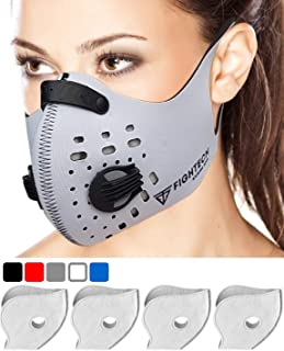 FIGHTECH Dust Mask   Mouth Mask Respirator with 4 Carbon N99 Filters for Pollution Pollen Allergy Woodworking Mowing Running   Washable and Reusable Neoprene Half Face Mask (Large, White)