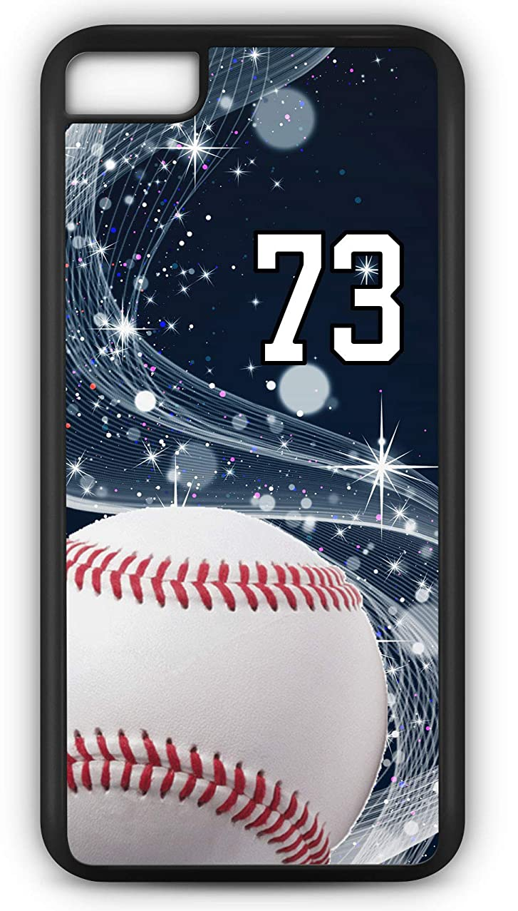 iPhone 8 Plus 8+ Case Baseball B005Z Choice of Any Personalized Name or Number Tough Phone Case by TYD Designs in Black Plastic and Black Rubber with Team Jersey Number 73