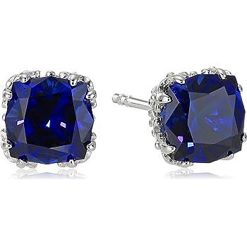 Created Gemstone Jubilee-Cut Stud Earrings with Crown Setting in Sterling Silver (7mm)