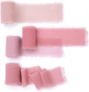 """Ling's moment Handmade Fringe Chiffon Silk-Like Ribbons Sample Swatch Chart in 4 Colors 1-1/2"""" RBC-CD-ROS-1"""