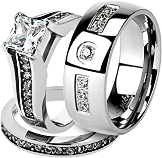 His & Her Stainless Steel 2.10 Ct Cz Bridal Ring Set & Men Zirconia Wedding Band