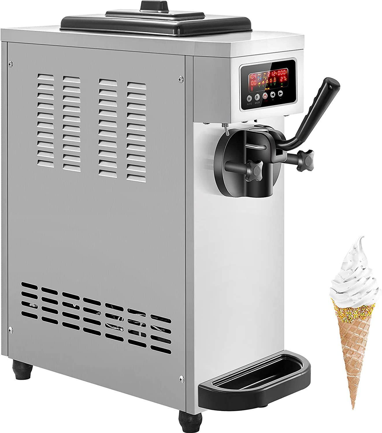 VEVOR Commercial Fashion Ice Cream Machine Mach H Serve Soft New product!! 4.7-5.3Gal