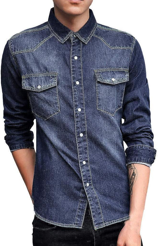MODOQO Men's Long Sleeve Denim Jacket Shirt Casual Button Down Loose Fit Dress Shirt